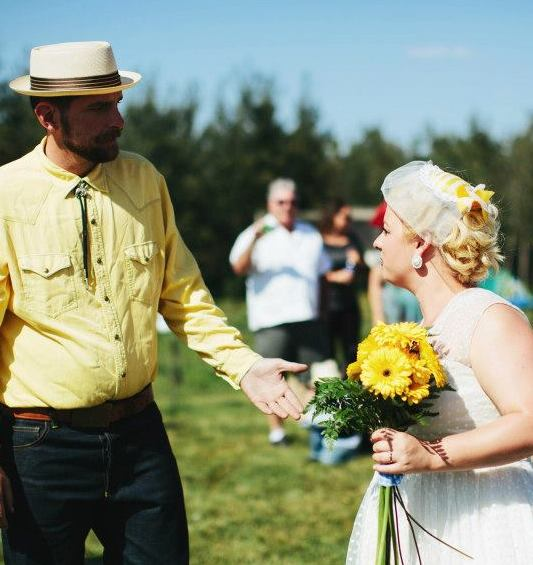 Bride chose mustard and canola as her wedding colors of choice. Country wedding!