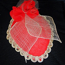 SALE $115.50 US Scarlet Hat with cream lace trim