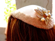 Silk and silver sequins with vintage rhinestone and pearl flower brooch