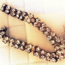 Vintage rhinestones used in sash