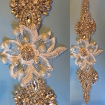 Lace, pearl and rhinestone wedding sash.