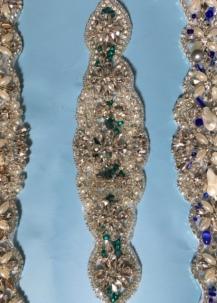 Emerald green beads, rhinestone wedding sash.
