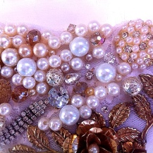 Pearls, crystals and vintage gold brooch.