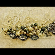 Ivory lace, pearls,Swarovski crystal and silver vintage pieces.