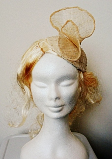 Sinamay and vintage lace dark ivory headpiece