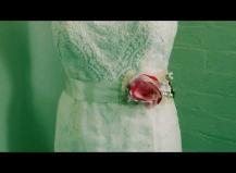 Handbeaded glass beads, red and white sash