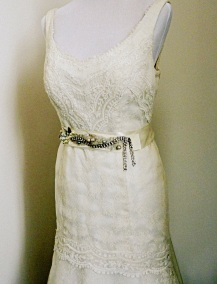 Silver butterfly and rhinestone sash
