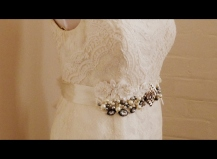 Silver pearls, beads, and pearled lace