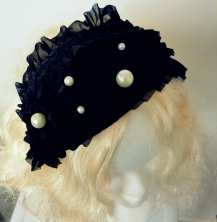 Black frilly lace headpiece with pearls